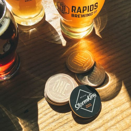 Brewpub tokens and beer glasses